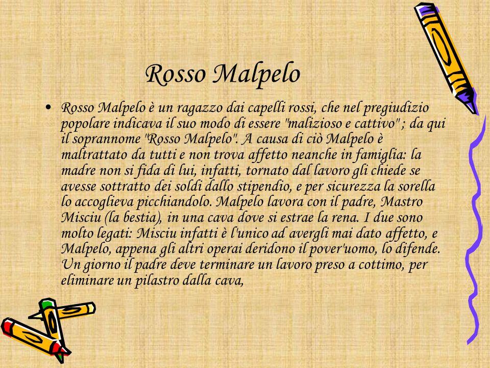Rosso Malpelo Rosso Malpelo è un ragazzo dai capelli rossi, che nel pregiudizio popolare indicava il suo modo di essere malizioso e cattivo ; da qui il soprannome Rosso Malpelo .