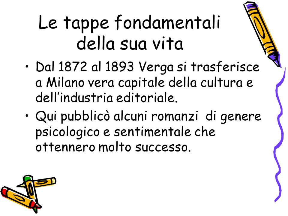 Le tappe fondamentali della sua vita Dal 1872 al 1893 Verga si trasferisce a Milano vera capitale della cultura e dellindustria editoriale.