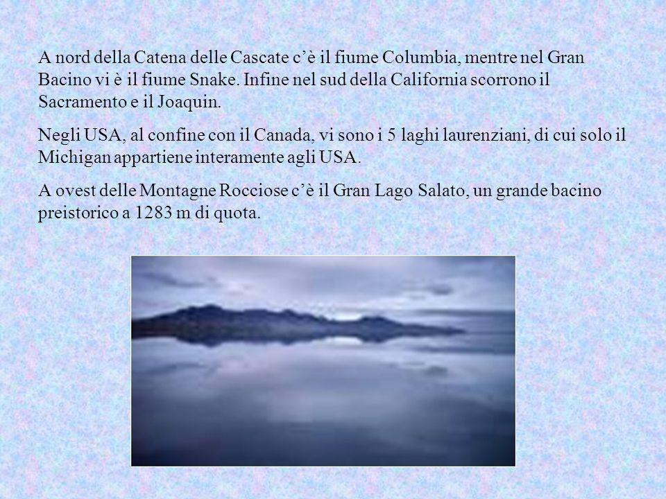 A nord della Catena delle Cascate cè il fiume Columbia, mentre nel Gran Bacino vi è il fiume Snake.
