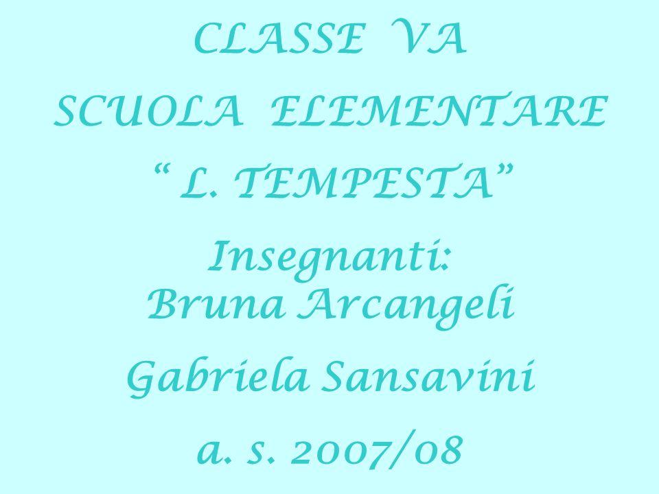 CLASSE VA SCUOLA ELEMENTARE L. TEMPESTA Insegnanti: Bruna Arcangeli Gabriela Sansavini a. s. 2007/08