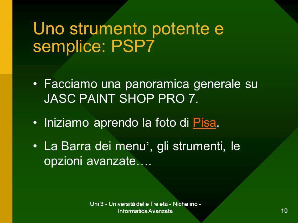 Uni 3 - Università delle Tre età - Nichelino - Informatica Avanzata 10 Uno strumento potente e semplice: PSP7 Facciamo una panoramica generale su JASC