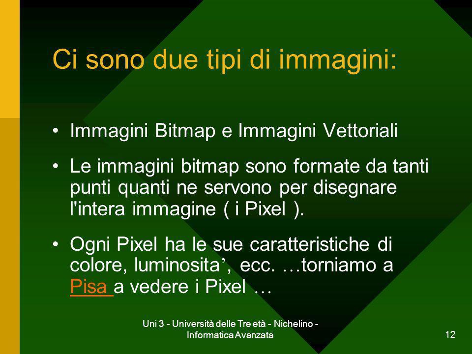 Uni 3 - Università delle Tre età - Nichelino - Informatica Avanzata 12 Ci sono due tipi di immagini: Immagini Bitmap e Immagini Vettoriali Le immagini