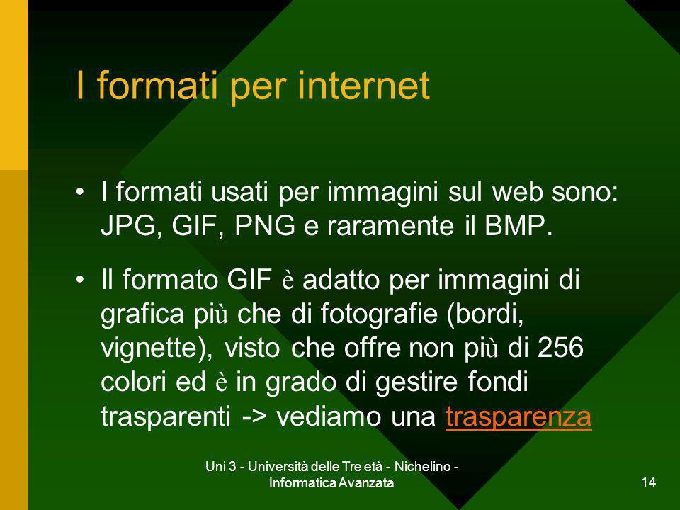 Uni 3 - Università delle Tre età - Nichelino - Informatica Avanzata 15 I formati per internet I formati usati per immagini sul web sono: JPG, GIF, PNG e raramente il BMP.