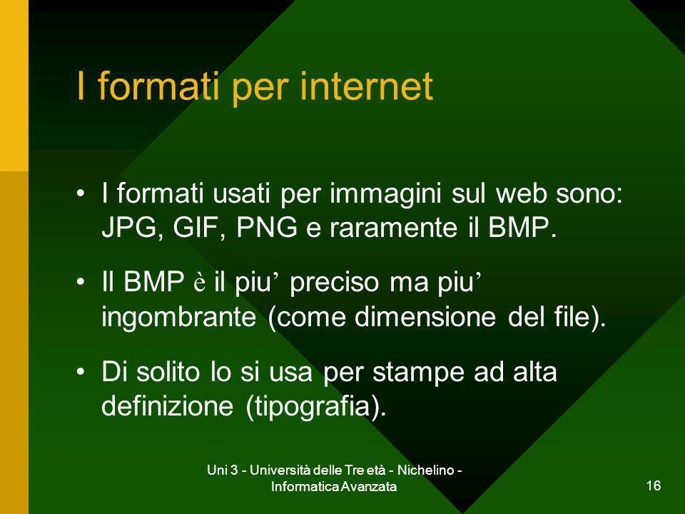 Uni 3 - Università delle Tre età - Nichelino - Informatica Avanzata 16 I formati per internet I formati usati per immagini sul web sono: JPG, GIF, PNG