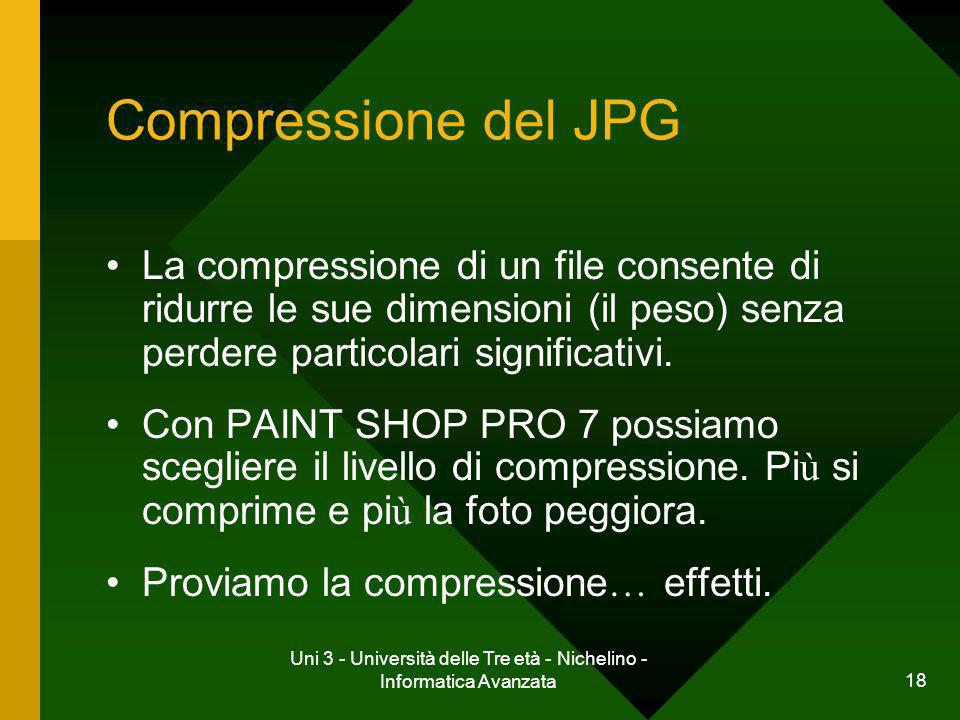 Uni 3 - Università delle Tre età - Nichelino - Informatica Avanzata 19 Risultati della CompressioneCompressione Compressione jpg 1 = file 228KB Compressione jpg 25 = file 61KB Compressione jpg 50 = file 41KB Compressione jpg 75 = file 27KB Compressione jpg 99 = file 7KB