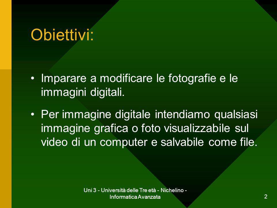 Uni 3 - Università delle Tre età - Nichelino - Informatica Avanzata 2 Obiettivi: Imparare a modificare le fotografie e le immagini digitali. Per immag