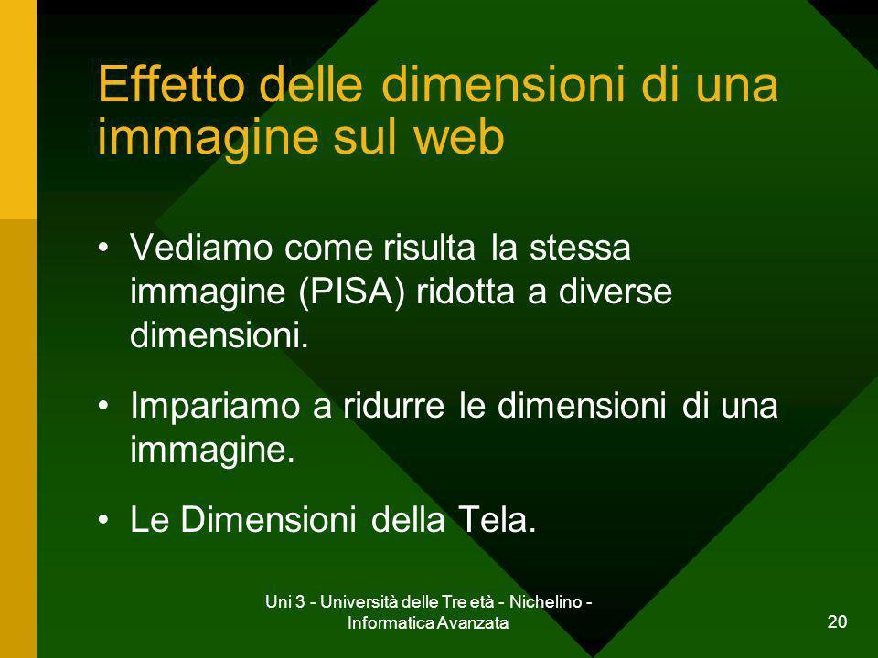 Uni 3 - Università delle Tre età - Nichelino - Informatica Avanzata 20 Effetto delle dimensioni di una immagine sul web Vediamo come risulta la stessa