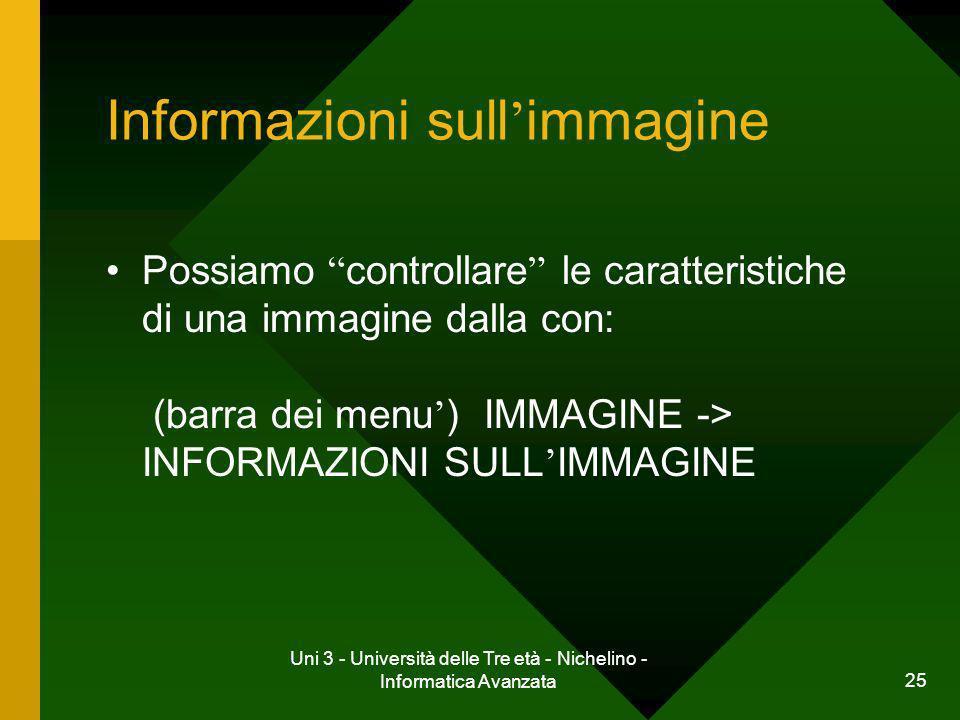 Uni 3 - Università delle Tre età - Nichelino - Informatica Avanzata 25 Informazioni sull immagine Possiamo controllare le caratteristiche di una immag