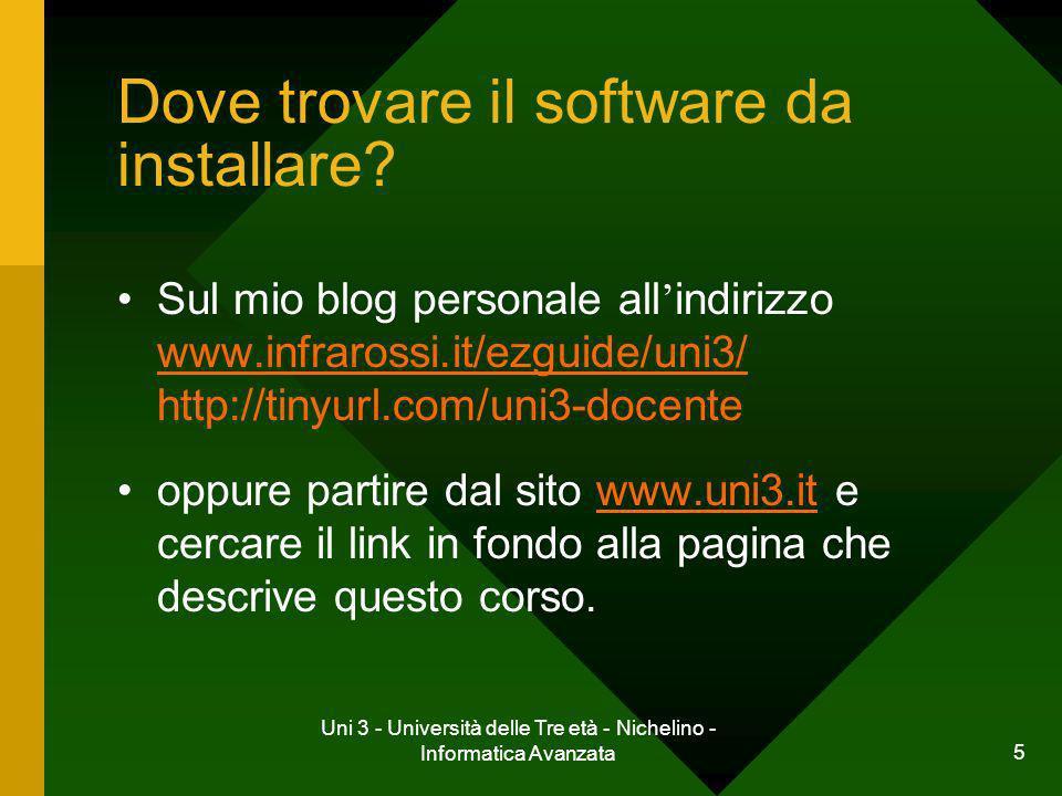 5 Dove trovare il software da installare? Sul mio blog personale all indirizzo www.infrarossi.it/ezguide/uni3/ http://tinyurl.com/uni3-docente www.inf