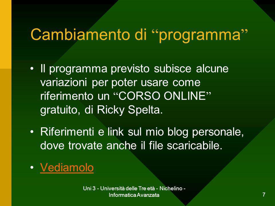 Uni 3 - Università delle Tre età - Nichelino - Informatica Avanzata 7 Cambiamento di programma Il programma previsto subisce alcune variazioni per pot