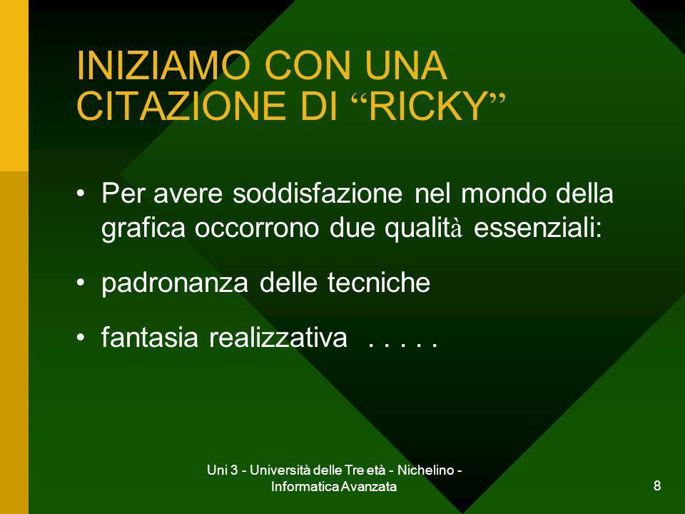 Uni 3 - Università delle Tre età - Nichelino - Informatica Avanzata 9 INIZIAMO CON UNA CITAZIONE DI RICKY.....