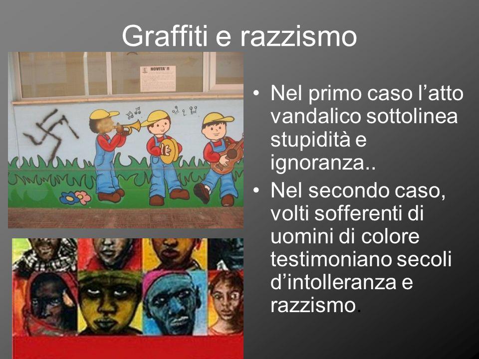Graffiti e razzismo Nel primo caso latto vandalico sottolinea stupidità e ignoranza.. Nel secondo caso, volti sofferenti di uomini di colore testimoni