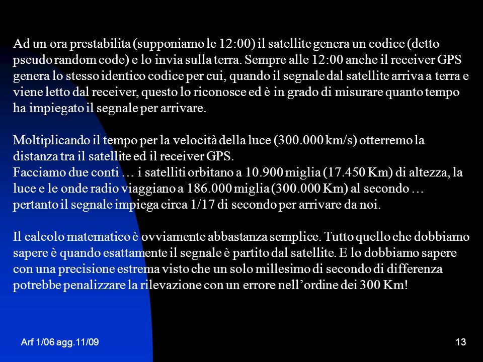 Arf 1/06 agg.11/0913 Ad un ora prestabilita (supponiamo le 12:00) il satellite genera un codice (detto pseudo random code) e lo invia sulla terra. Sem