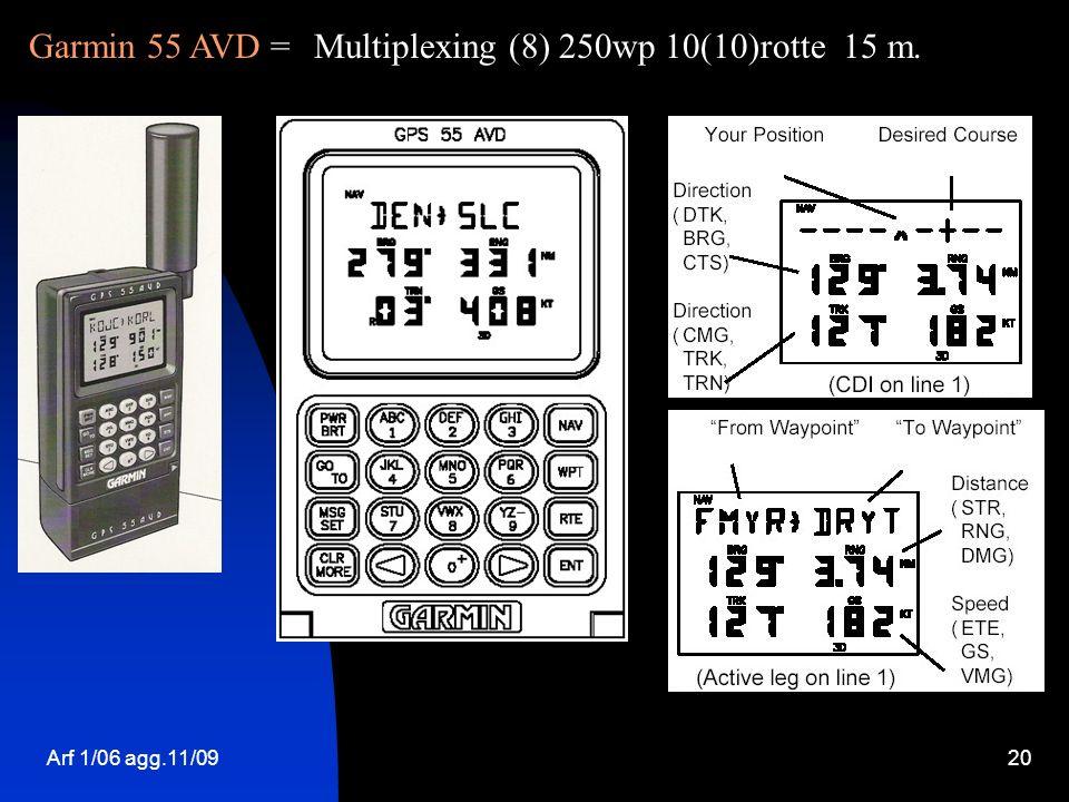 Arf 1/06 agg.11/0920 Garmin 55 AVD =Multiplexing (8) 250wp 10(10)rotte 15 m.