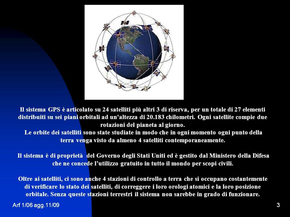 Arf 1/06 agg.11/093 Il sistema GPS è articolato su 24 satelliti più altri 3 di riserva, per un totale di 27 elementi distribuiti su sei piani orbitali