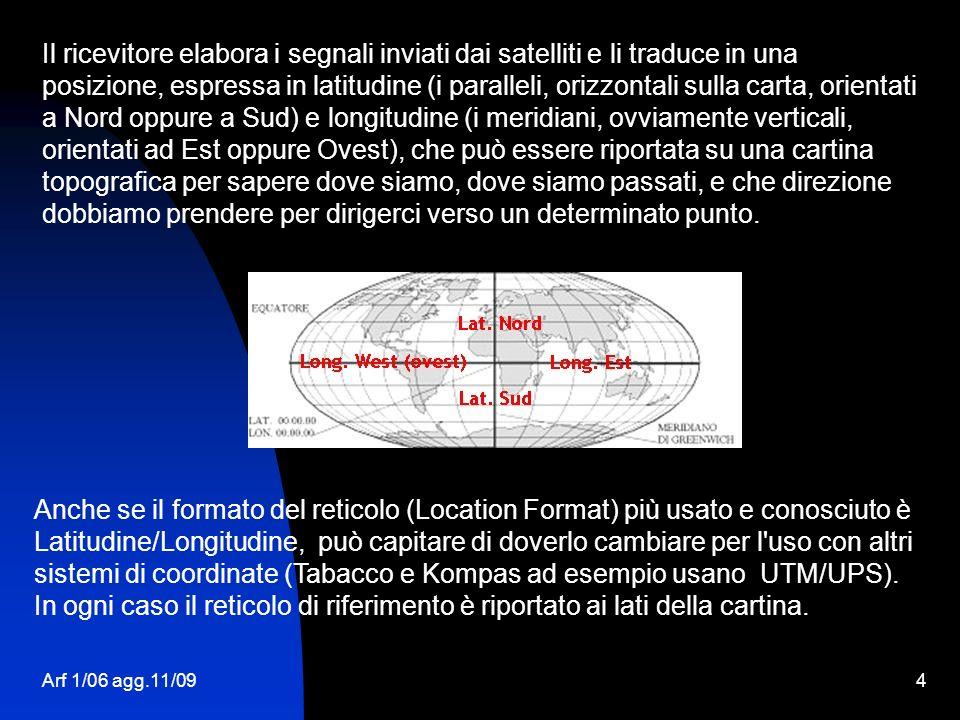 Arf 1/06 agg.11/094 Il ricevitore elabora i segnali inviati dai satelliti e li traduce in una posizione, espressa in latitudine (i paralleli, orizzont