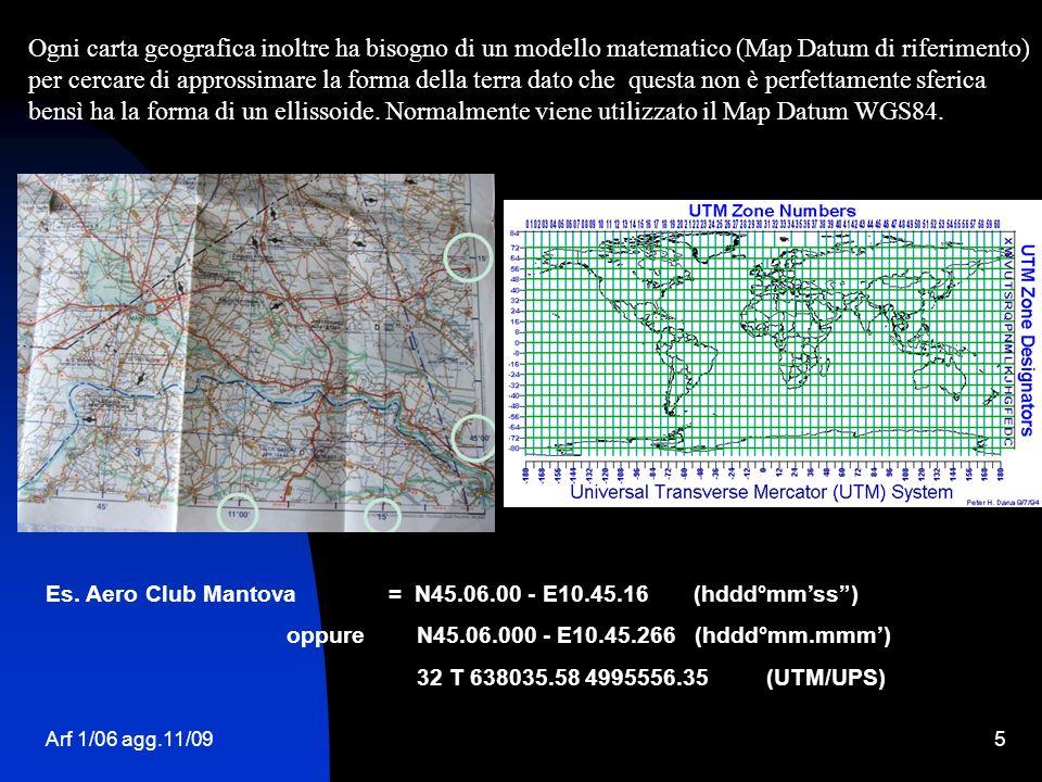 Arf 1/06 agg.11/095 Es. Aero Club Mantova = N45.06.00 - E10.45.16 (hddd°mmss) oppure N45.06.000 - E10.45.266 (hddd°mm.mmm) 32 T 638035.58 4995556.35 (
