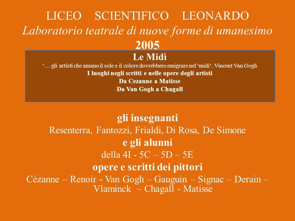 LICEO SCIENTIFICO LEONARDO Laboratorio teatrale di nuove forme di umanesimo 2005 gli insegnanti Resenterra, Fantozzi, Frialdi, Di Rosa, De Simone e gl