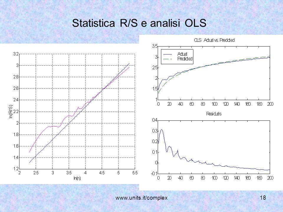 www.units.it/complex18 Statistica R/S e analisi OLS