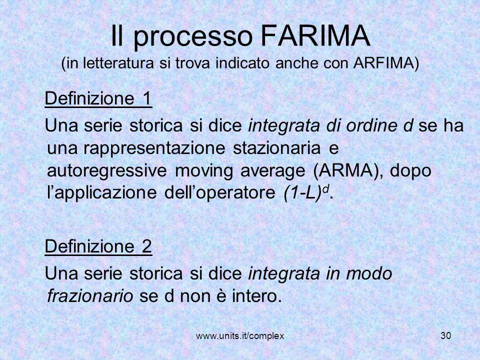 www.units.it/complex30 Il processo FARIMA (in letteratura si trova indicato anche con ARFIMA) Definizione 1 Una serie storica si dice integrata di ord