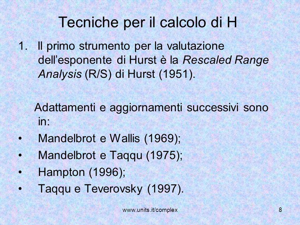 www.units.it/complex8 Tecniche per il calcolo di H 1. Il primo strumento per la valutazione dellesponente di Hurst è la Rescaled Range Analysis (R/S)