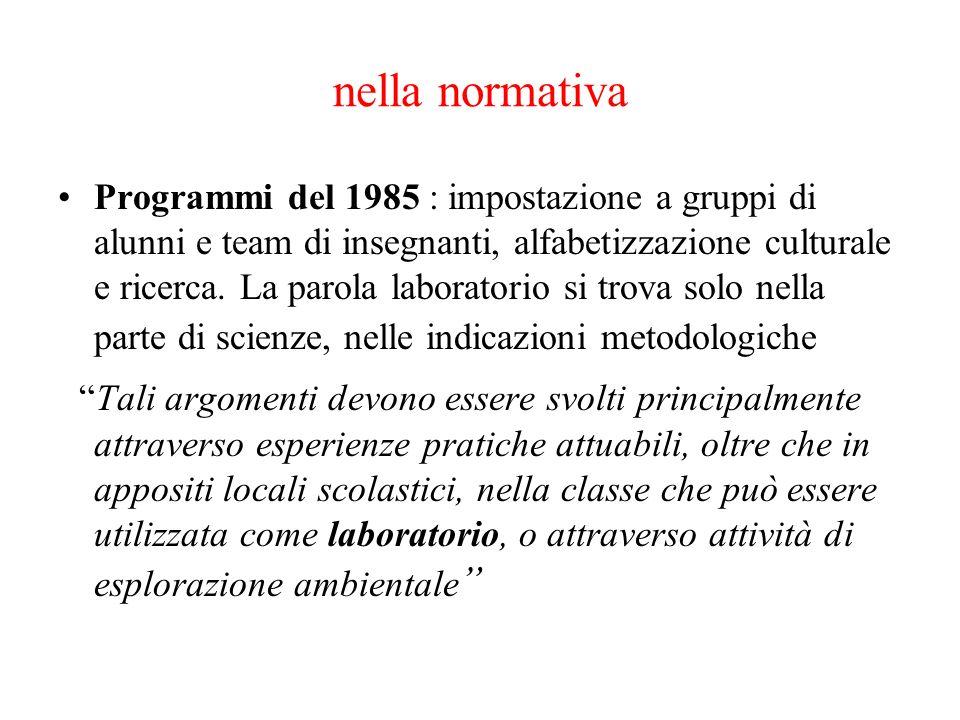 nella normativa Programmi del 1985 : impostazione a gruppi di alunni e team di insegnanti, alfabetizzazione culturale e ricerca. La parola laboratorio