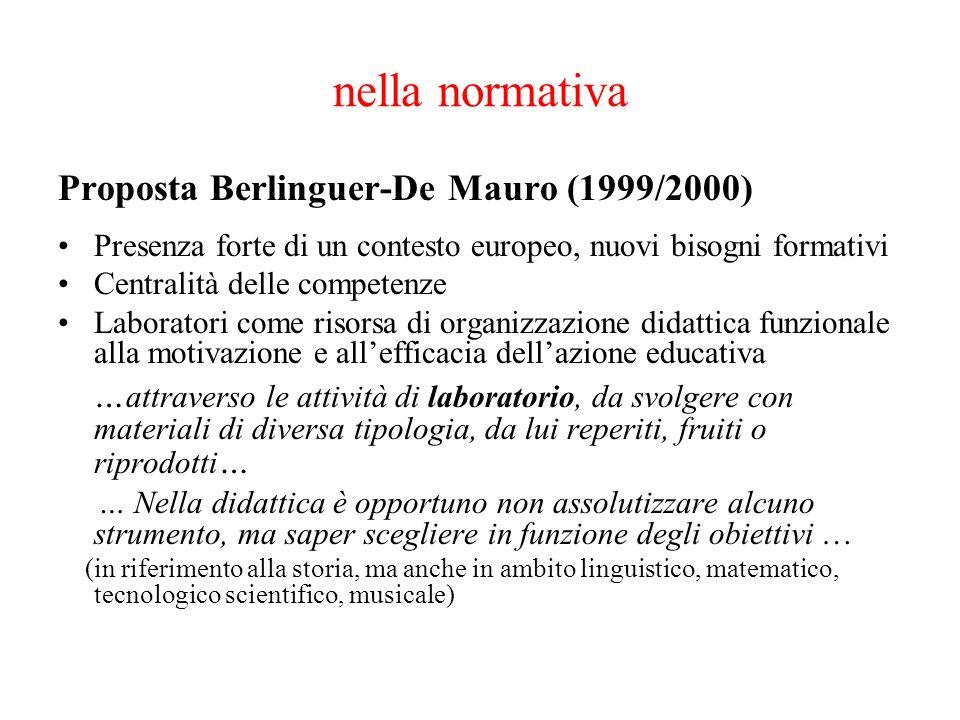 nella normativa Proposta Berlinguer-De Mauro (1999/2000) Presenza forte di un contesto europeo, nuovi bisogni formativi Centralità delle competenze La