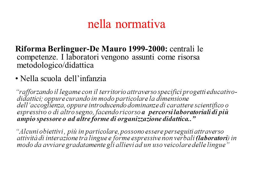 nella normativa Riforma Berlinguer-De Mauro 1999-2000: centrali le competenze. I laboratori vengono assunti come risorsa metodologico/didattica Nella