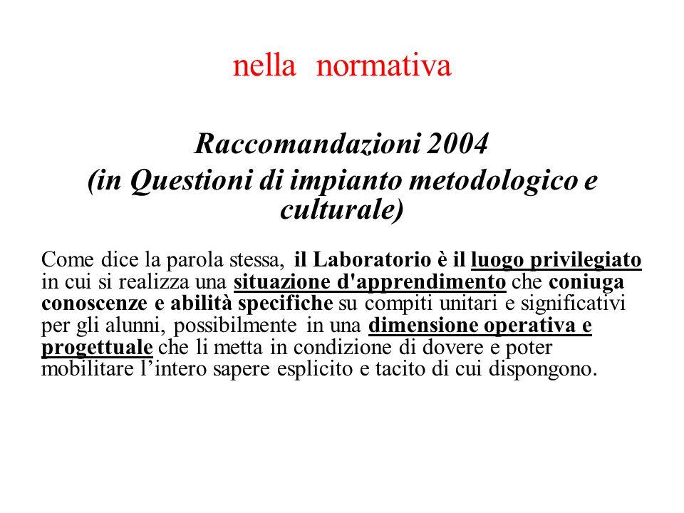 nella normativa Raccomandazioni 2004 (in Questioni di impianto metodologico e culturale) Come dice la parola stessa, il Laboratorio è il luogo privile