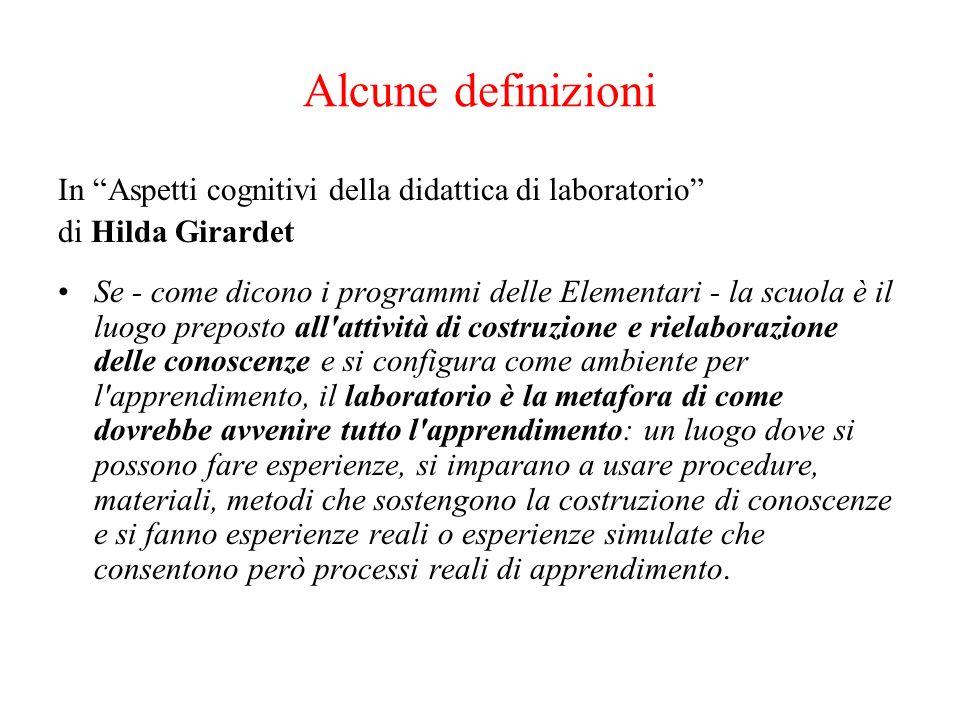Alcune definizioni In Aspetti cognitivi della didattica di laboratorio di Hilda Girardet Se - come dicono i programmi delle Elementari - la scuola è i