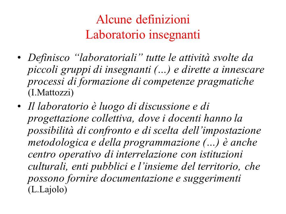 Alcune definizioni Laboratorio insegnanti Definisco laboratoriali tutte le attività svolte da piccoli gruppi di insegnanti (…) e dirette a innescare p