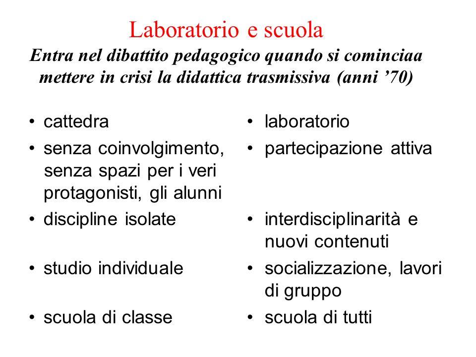 Laboratorio e scuola Entra nel dibattito pedagogico quando si cominciaa mettere in crisi la didattica trasmissiva (anni 70) cattedra senza coinvolgime