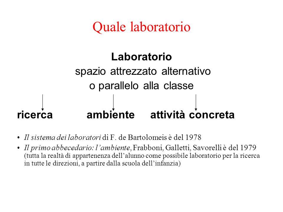 Quale laboratorio Laboratorio spazio attrezzato alternativo o parallelo alla classe ricerca ambiente attività concreta Il sistema dei laboratori di F.