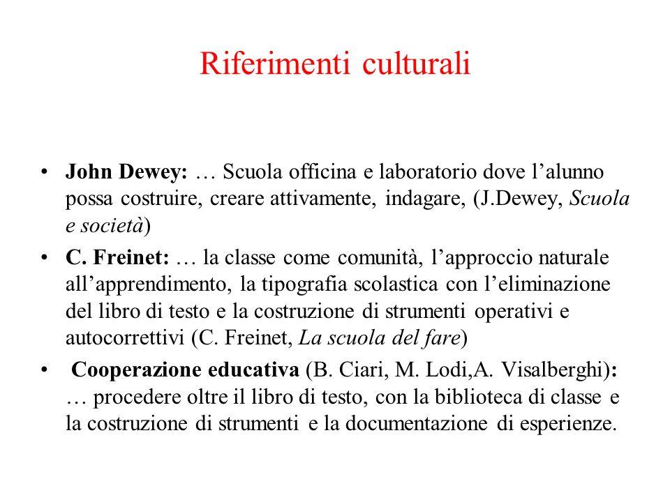 Riferimenti culturali John Dewey: … Scuola officina e laboratorio dove lalunno possa costruire, creare attivamente, indagare, (J.Dewey, Scuola e socie