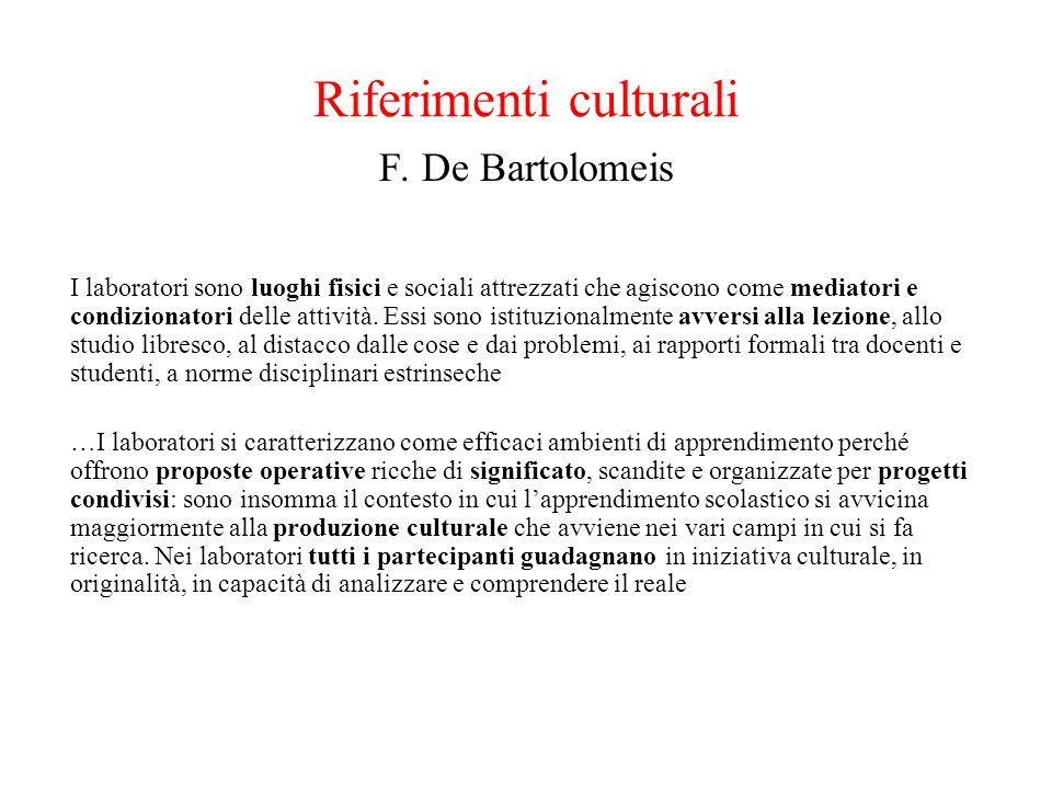 Riferimenti culturali F. De Bartolomeis I laboratori sono luoghi fisici e sociali attrezzati che agiscono come mediatori e condizionatori delle attivi