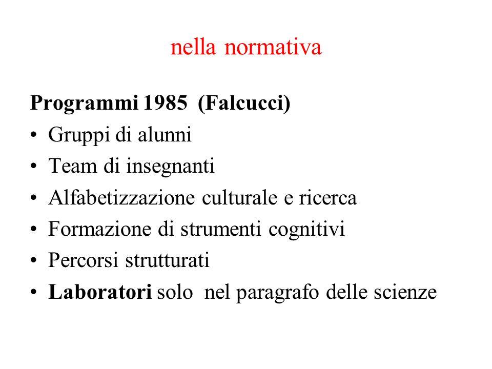 nella normativa Programmi 1985 (Falcucci) Gruppi di alunni Team di insegnanti Alfabetizzazione culturale e ricerca Formazione di strumenti cognitivi P