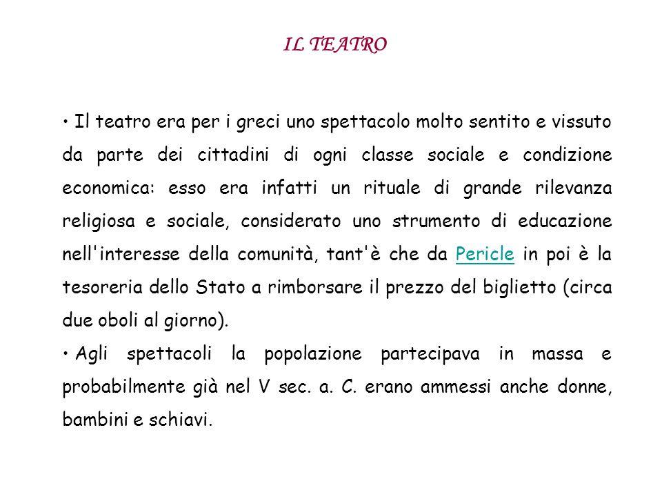 IL TEATRO Il teatro era per i greci uno spettacolo molto sentito e vissuto da parte dei cittadini di ogni classe sociale e condizione economica: esso