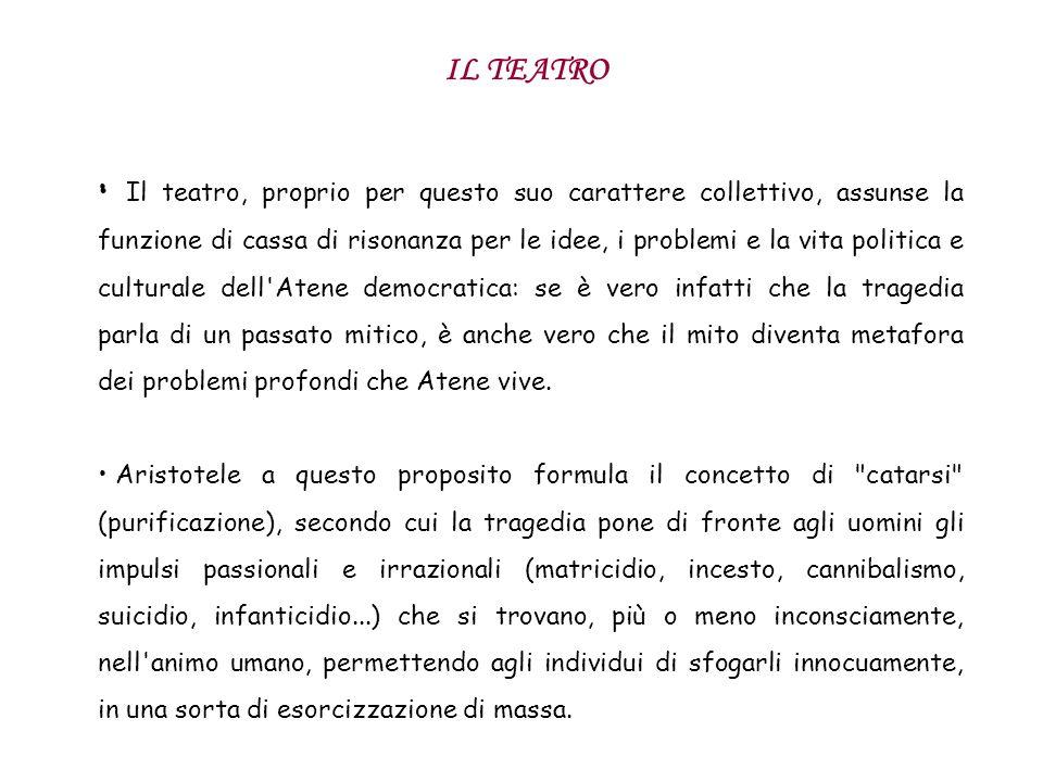 IL TEATRO Il teatro, proprio per questo suo carattere collettivo, assunse la funzione di cassa di risonanza per le idee, i problemi e la vita politica