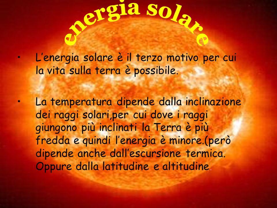 Lenergia solare è il terzo motivo per cui la vita sulla terra è possibile. La temperatura dipende dalla inclinazione dei raggi solari,per cui dove i r