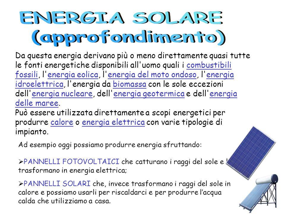 Da questa energia derivano più o meno direttamente quasi tutte le fonti energetiche disponibili all'uomo quali i combustibili fossili, l'energia eolic