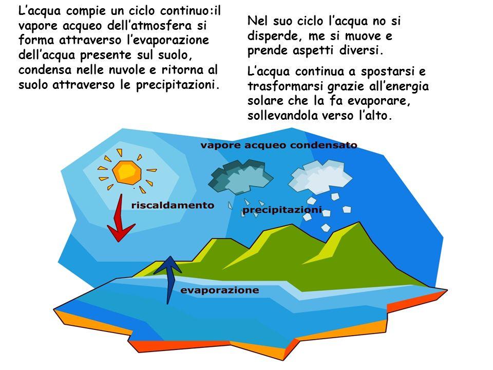 Lacqua compie un ciclo continuo:il vapore acqueo dellatmosfera si forma attraverso levaporazione dellacqua presente sul suolo, condensa nelle nuvole e