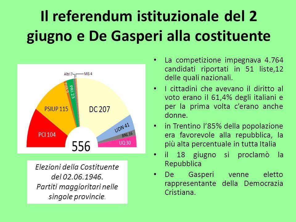 Il referendum istituzionale del 2 giugno e De Gasperi alla costituente La competizione impegnava 4.764 candidati riportati in 51 liste,12 delle quali