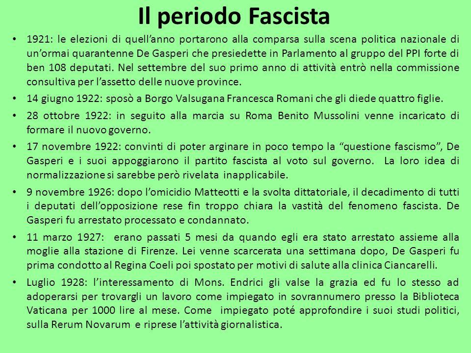 1921: le elezioni di quellanno portarono alla comparsa sulla scena politica nazionale di unormai quarantenne De Gasperi che presiedette in Parlamento