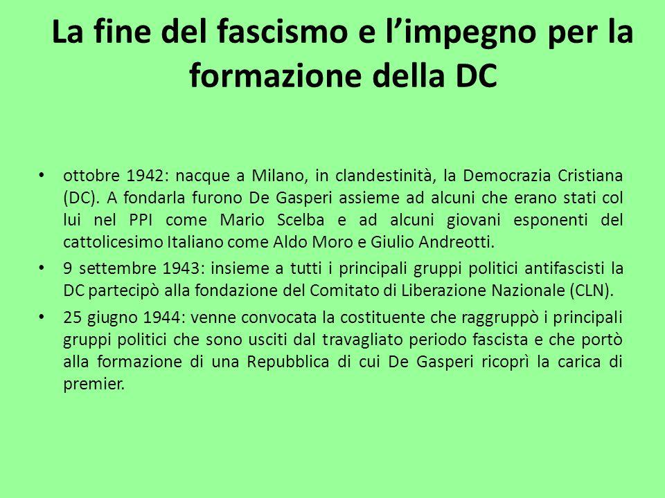 ottobre 1942: nacque a Milano, in clandestinità, la Democrazia Cristiana (DC). A fondarla furono De Gasperi assieme ad alcuni che erano stati col lui