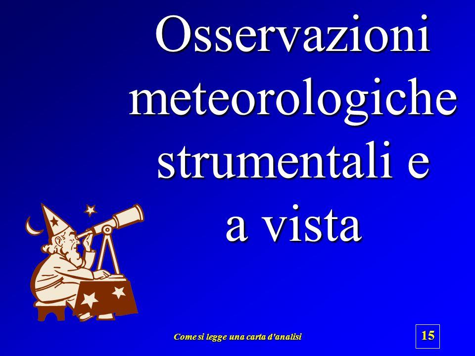 Come si legge una carta d'analisi 14 1.Osservazioni meteorologiche strumentali e a vista 2.Codificazione 3.Raccolta dei dati 4.Trascrizione dei dati i