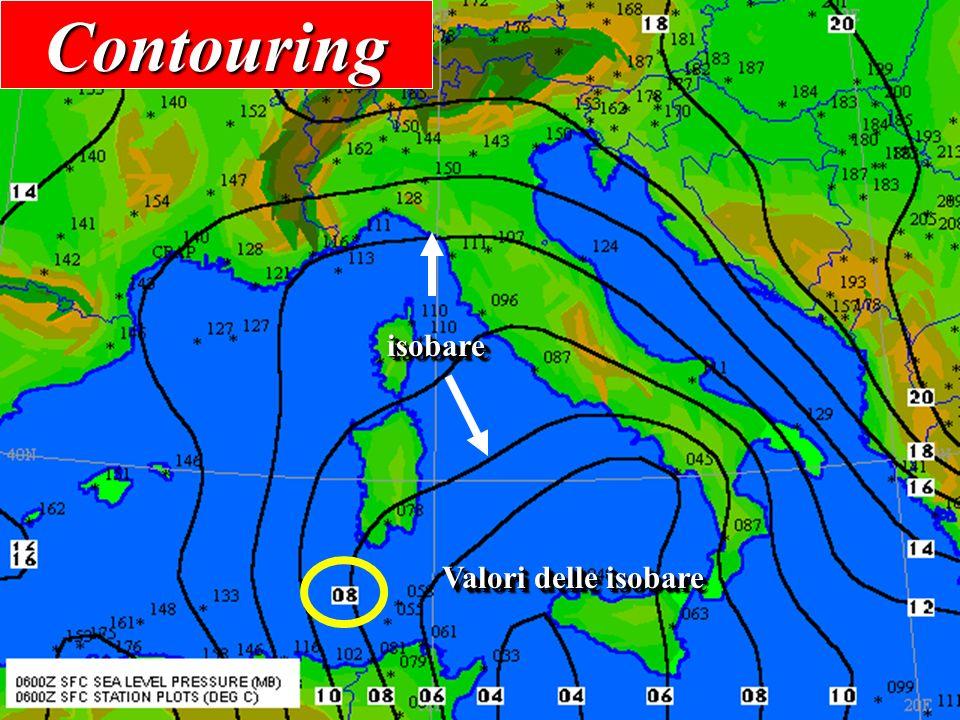 Come si legge una carta d'analisi 32 Isobare (definizione) Linee che uniscono i punti che hanno la medesima pressione ridotta al livello del mare ed o