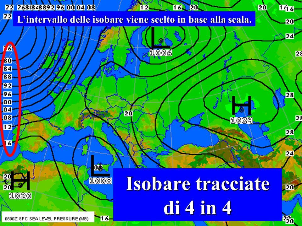 Come si legge una carta d'analisi 35 Le isobare sono tracciate di due in due.