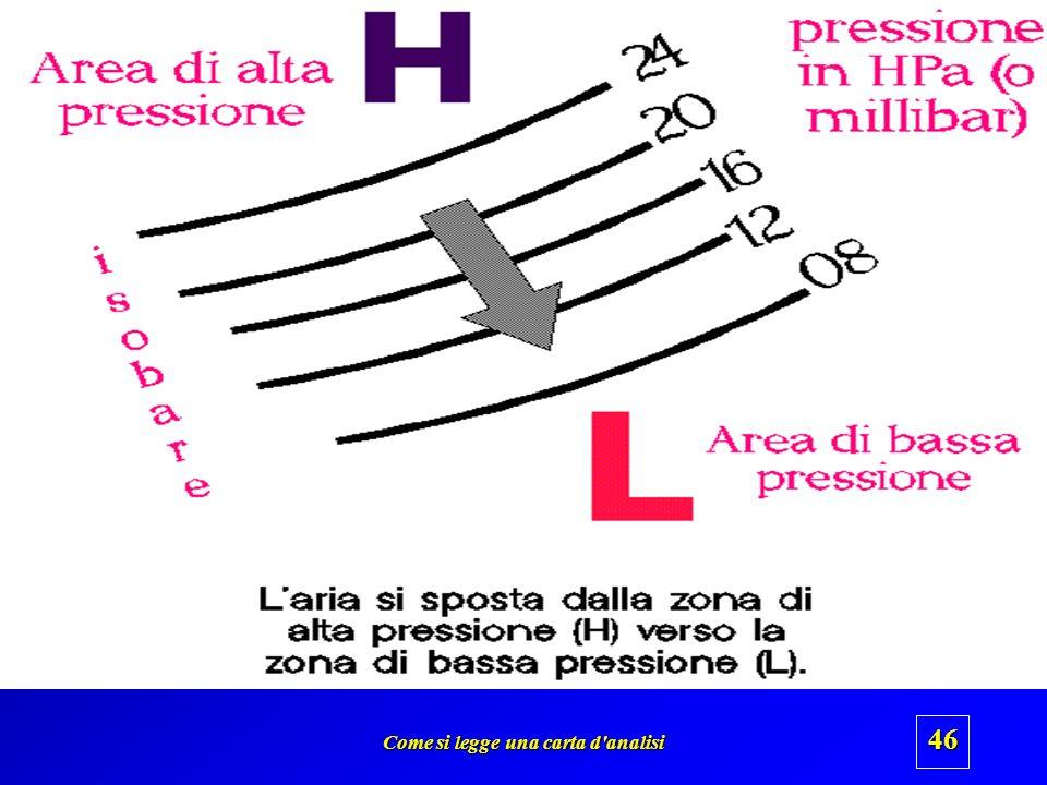 Come si legge una carta d'analisi 45 1006 1010 B Unarea di bassa pressione è unarea in cui la pressione al centro è minore che in periferia Contrasseg