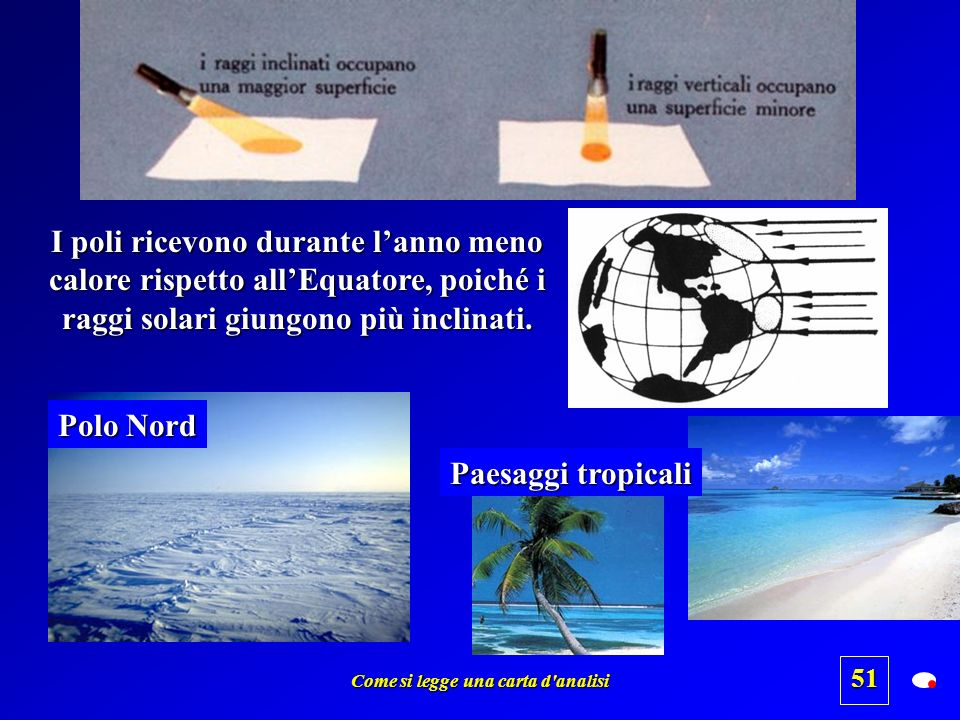 Come si legge una carta d'analisi 50 Perché sulla superficie terrestre si generano aree di alta e bassa pressione ? La causa primaria, a livello globa