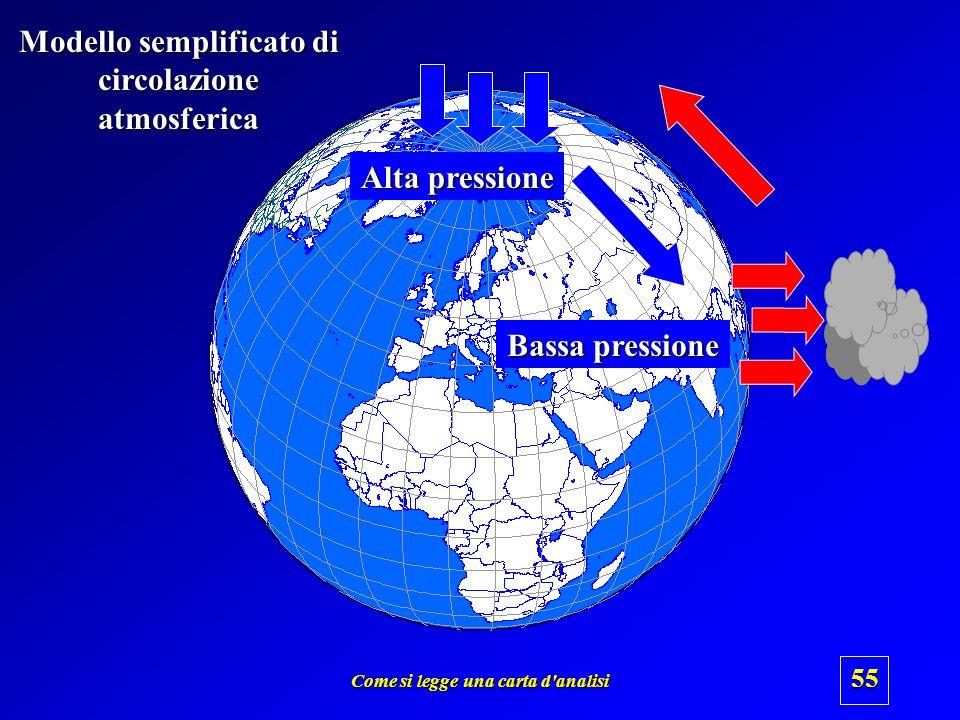 Come si legge una carta d'analisi 54 Aria calda = aria meno densa = aria più leggera Aria fredda = aria più densa = aria più pesante Bassa pressione A
